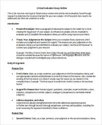 evaluation essay examples corning painted post high school library  evaluation essay example samples in word pdf sample critical evaluation essay outline