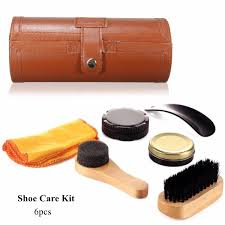 6pcs set cleaning shoes care kit leatherette barrel case travel care tool leather neutral polishing tool for leather