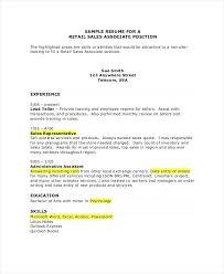 Resume Sample For Free Resume Samples Sales Associate Essexpga Com