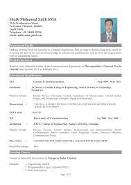 Resume Format For It Engineers Mechanical Engineer Sample Resume