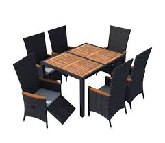 vidaxl outdoor dining set 13 pieces black poly rattan acacia wood l
