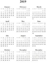 Year To Year Calendar 2019 Year Calendar Free Download