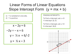 10 linear forms of linear equations slope intercept