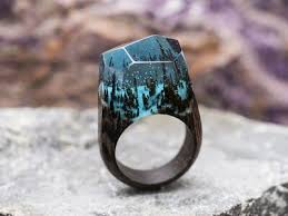 <b>Wood resin ring Soul</b> of the Forest Handmade jewelry Epoxy resin ...