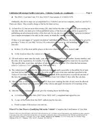 Vehicle Lien Sale Procedures Checklist Law Office Of Vin A Fichter