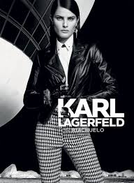 isabeli fontana wears a leather jacket with high waisted pants in the karl lagerfeld for