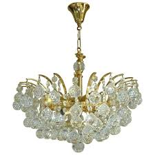 vintage crystal ball chandelier attributed to swarovski for