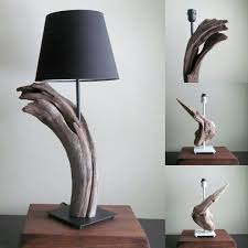 Driftwood Lighting In Stock Driftwood Table Lamp With Dark Driftwood And Black Base