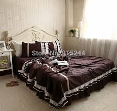 luxury coffee dark brown color bedding ruffle europe embroidered white lace edge sanding cotton 4pcs set bed skirt duvet cover