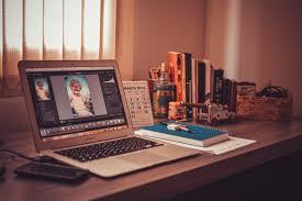 home office technology. Laptop Desk Notebook Computer Macbook Screen Apple Table Technology Notepad Office Home Interior Design