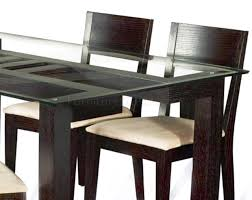 Rectangular Clear Glass Top Modern 5Pc Dining Set W Wood Base