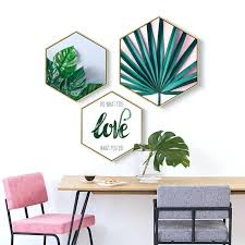 hexagon green leaf wall art with frame and canvas the honeycomb room before and after geometric hexagon wall art next