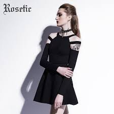 <b>Rosetic</b> Gothic Mini Dress Black <b>Fashion Hollow</b> Autumn Women ...