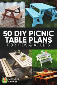 Free Picnic Table Designs 50 Free Diy Picnic Table Plans For Kids And Adults