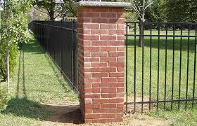 wrought iron fence brick. Brick Pillars And Wrought Iron Fencing Fence B