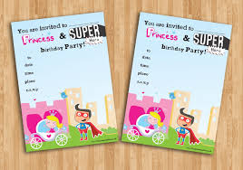 superheroes birthday party invitations 20 childrens birthday party invitations princess and superhero