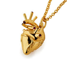 home jewellery pendants large gold plated anatomical heart necklace