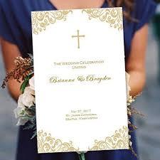 Wedding Ceremony Program Cover Catholic Wedding Program Faith Champagne Gold By Weddingtemplates