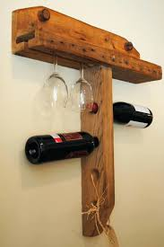 wall mount wine rack with glass holder hand crafted wall mounted wine holder empty spaces design wine bottle and glass rack natural wood wall mount stemware