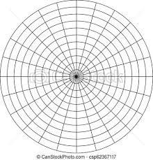 Polar Grid Of 10 Concentric Circles And 15 Degrees Steps Blank Vector Polar Graph Paper