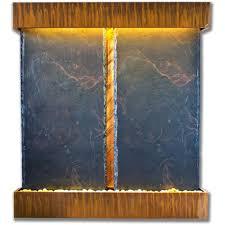 double nojoqui falls lightweight slate wall fountain in copper patina trim
