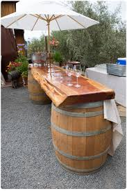 Wood barrel furniture Tequila Baldachin 12 Rustic Outdoor Bar Outdoor Bar Table Outdoor Bars Bar Tables Fine Woodworking Rustic Italian Themed Wedding Farm Tables Rent Made On Cape