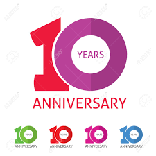Anniversary Template 10th Anniversary Template With A Shadow On Circle Number 1 One