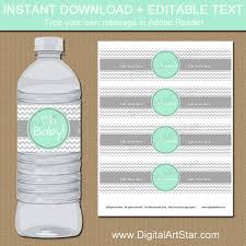 Decorating Water Bottles For Baby Shower Mint Grey Baby Shower Decorations Printable Water Bottle Labels 67