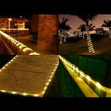 50 warm white led rope light 7m solar garden string le