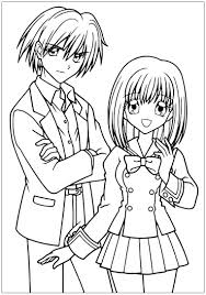 Small Picture Manga drawing boy and girl in school suit Manga Anime