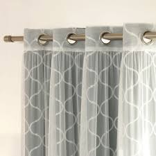 Aurora Home MIX & MATCH CURTAINS Quatrefoil Print and Tulle Lace Sheer  84-inch Room Darkening Grommet 4-piece Curtain Panel Pair by Aurora Home