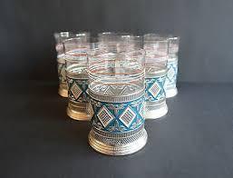 vintage russian tea glass cup holders set of six including original glasses 508654174
