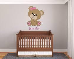 Custom Name Teddy Bear Prime Series Baby Girl Nursery Wall Decal For Baby Room