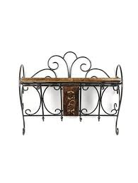 wooden wrought iron wall bracket book rack cloth hanger by ping for wall shelves in india 15049067