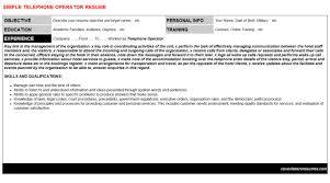 Telephone Operator Resume Sample