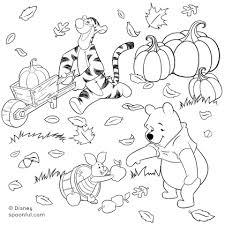 Winnie The Pooh And Friends Fall Coloring Page Disney Family