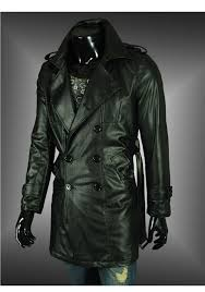 free 2016 the most shining design men s bouble ted belted leather trench coat long half coat