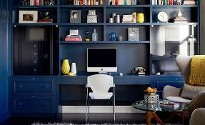 modern style office. Built-in Library Wall For The Modern Home Office Style O
