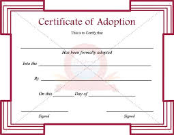 Adoption Certificate Template Adoption Certificate Template Adoption Papers Template Rapic Design