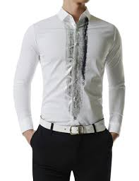 Gents Shirt Pocket Design Slim Fit Stretchy Attractive Silver Brush Print Long Sleeve