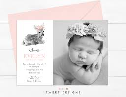 Announcement For Baby Girl Girl Birth Announcement Deer Birth Announcement Deer Birth Details