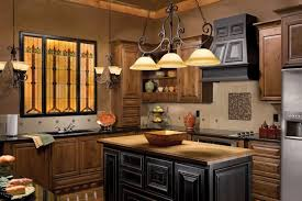 iron 3 lamps kitchen chandelier designs over dark wood kitchen island cabinet and unfinished wooden cabinet