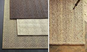 pottery barn cecil rug island chevrons jute and sisal rugs left and a flat braided jute