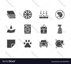 Properties Microfiber Icons Glyph Flat Cloth Image Vector