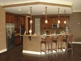 Divine Pendant Lights Over Brown Marble Top Kitchen Counter Bar Island With  Wooden Stools As Well As Wooden Cabinets Sets As Open Kitchen Ideas In  Interior ...