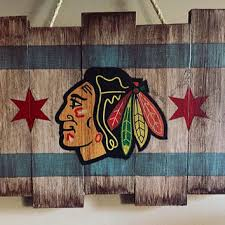 chicago blackhawks wooden stained flag hand painted hockey