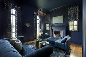 dark blue living room with blue linen chaise lounge