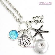 10pcs whole interchangeable 18mm snap jewelry ocean sea life style sea s necklace starfish turtle snap necklace gift
