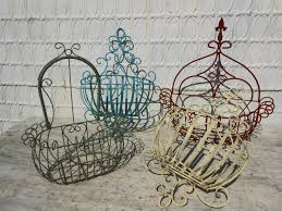 wrought iron susanna half wall baskets in sizes contemporary art wall basket planters