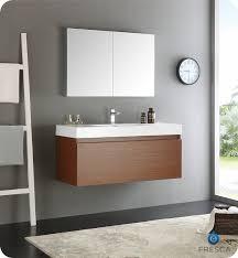 fresca mezzo 48 teak wall hung modern bathroom vanity with medicine cabinet